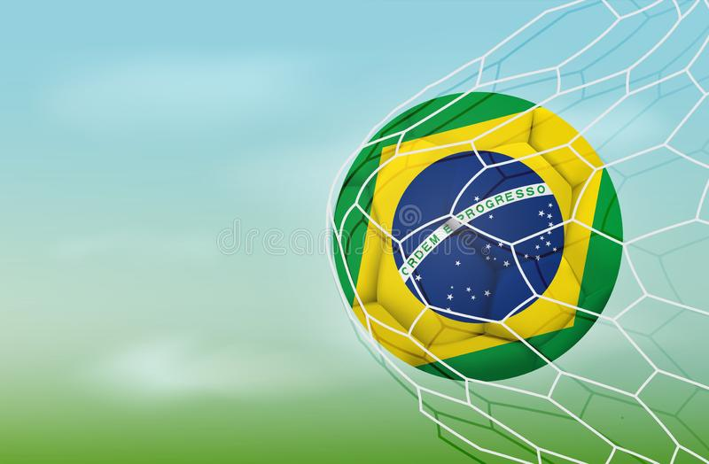 Soccer Brazil ball in goal net with blue sky. Realistic football in net with copy space for text. Brazil flag Illustration stock vector illustration