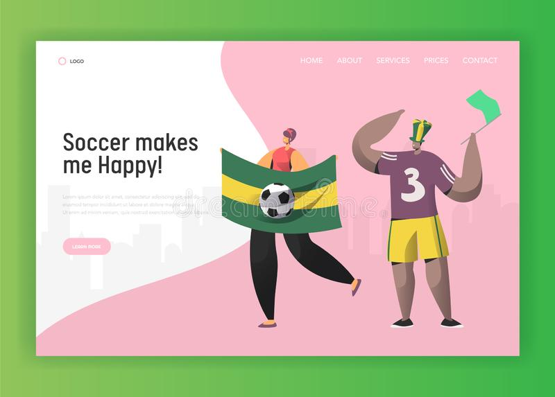Soccer Brazil Fan Character Couple Landing Page. Excited Friend Celebrate Brazilian Sport Event Cup Game with Flag. Concept for Website or Web Page. Flat Vector stock illustration
