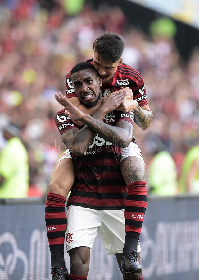 Soccer brazil. Rio de Janeiro, Brazil,. Football player Gerson  from the Famengo  team, during the Flamengo   x Botafogo  match for the Brazil Cup at the Maracan royalty free stock photography