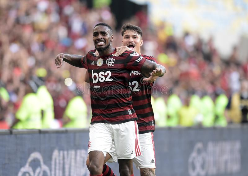 Soccer brazil. Rio de Janeiro, Brazil,. Football player Gerson  from the Famengo  team, during the Flamengo   x Botafogo  match for the Brazil Cup at the Maracan stock image