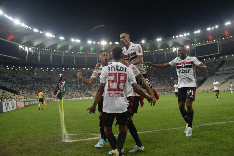 Soccer brazil. Rio de Janeiro, Brazil, . Football player Reinaldo  from the São Paulo team, during the Fluminense  x SÃO stock photo