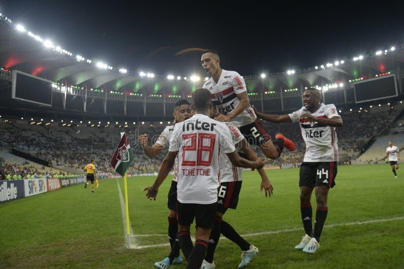 Soccer brazil. Rio de Janeiro, Brazil, . Football player Reinaldo  from the São Paulo team, during the Fluminense  x SÃO  Paulo  match for the Brazil Cup stock image
