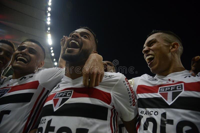 Soccer brazil. Rio de Janeiro, Brazil, July 27, 2019. Football player Reinaldo  from the São Paulo team, during the Fluminense  x SÃO  Paulo stock photos