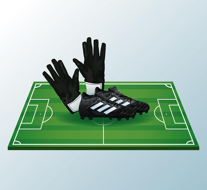 Soccer camp field. Soccer equipment over camp field vector illustration graphic design royalty free illustration
