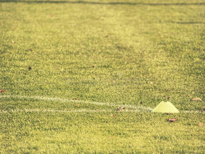 Soccer camp playground for kids. Children training soccer. Skills with balls and cones royalty free stock images