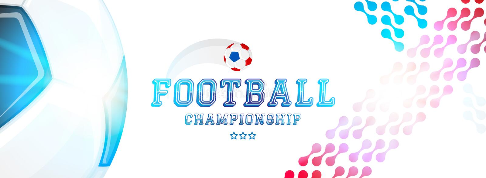 Soccer championship. Banner template horizontal format with a football ball and text on a background with a bright light effect vector illustration