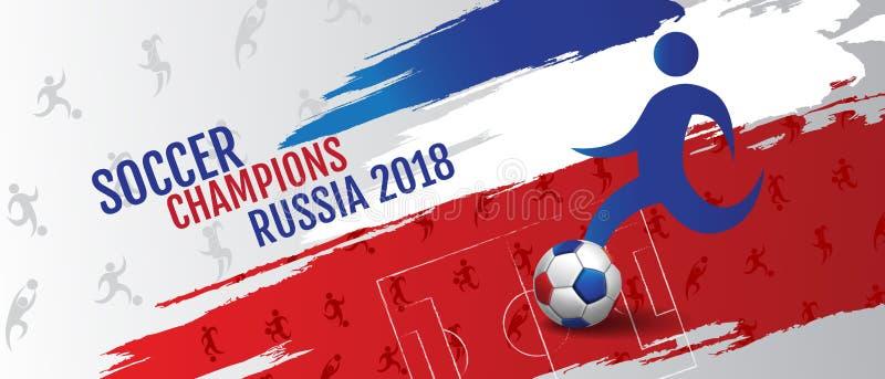 Soccer championship cup background , Banner Design football, 2018, Russia, vector illustration. stock illustration