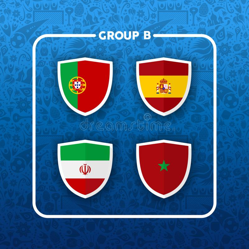 Group B russian soccer event country flag list royalty free illustration