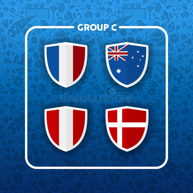 Group C russian soccer event country flag list stock illustration