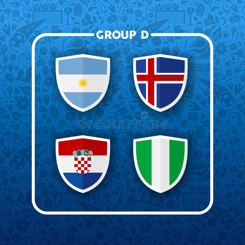 Group D russian soccer event country flag list royalty free illustration