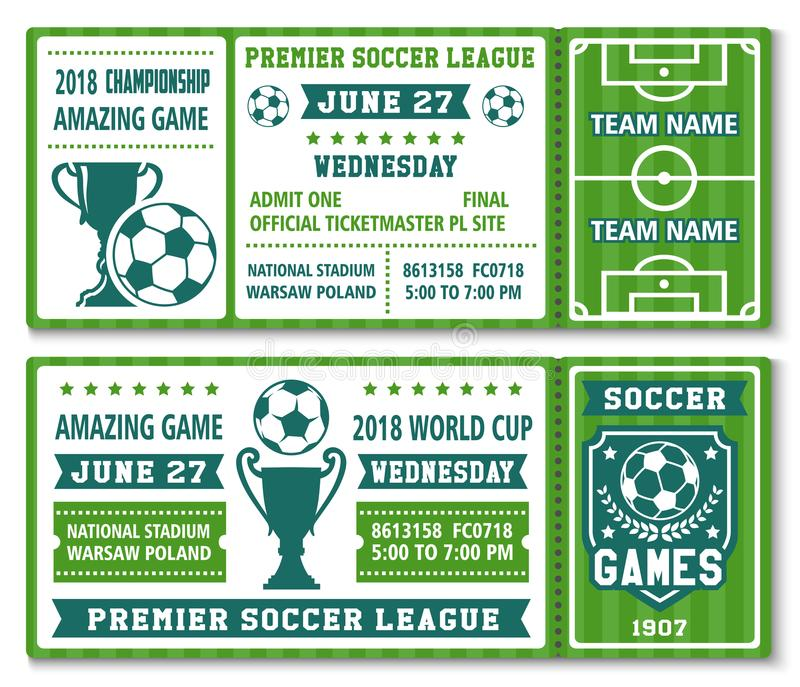 Vector Tickets Template Soccer Football Cup 2018 Stock Vector ...