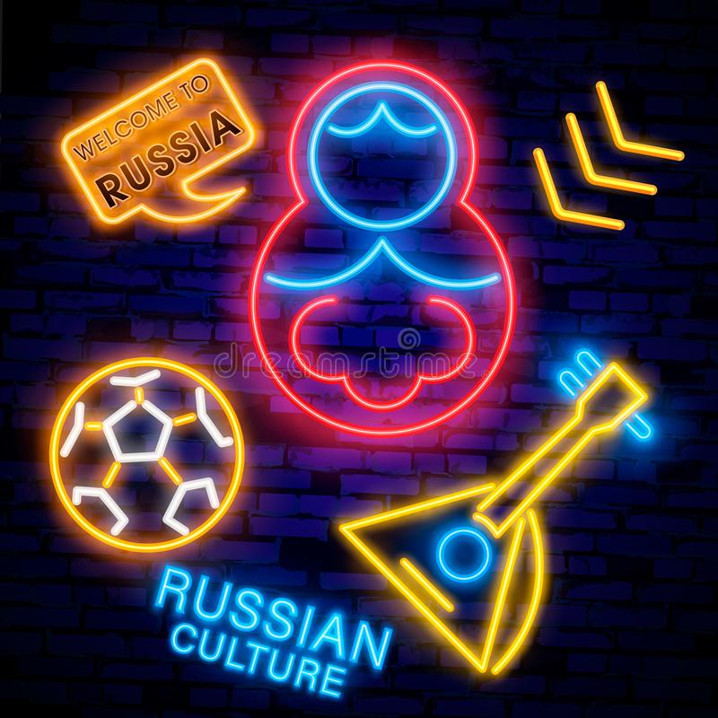 Soccer championship logo neon vector. Soccer neon sign, European Football Cup 2018, Light Banner, Design Template whit Russian nes. Ting doll, Soccer Russia royalty free stock photos