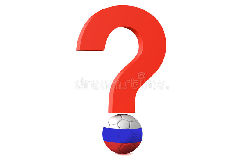 Soccer championship 2018 in Russia cancellation question. Concept stock illustration