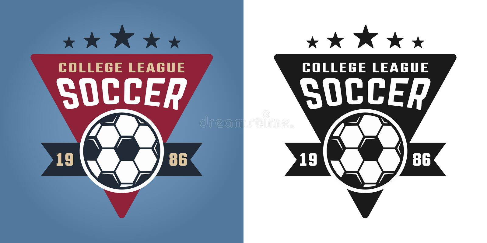 Soccer college team two styles vector emblems. Soccer college team two styles vector emblem, badge, label or logo isolated on colored and white background royalty free illustration