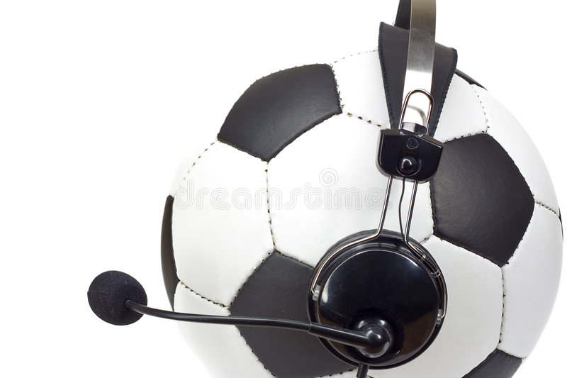 Soccer concept, ball as commentator royalty free stock images