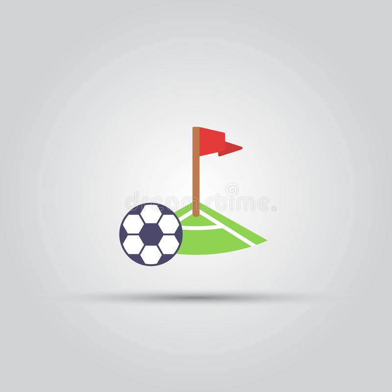 Soccer corner kick and ball isolated vector icon royalty free illustration