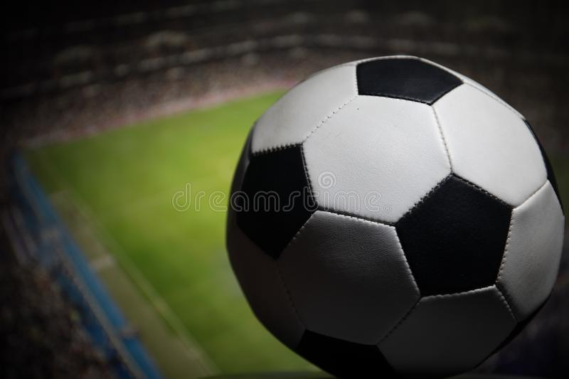 Soccer 2018. Creative concept. Close up view of soccer ball. Support your country or cheer concept royalty free stock photography