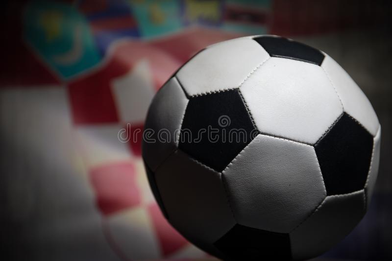Soccer 2018. Creative concept. Close up view of soccer ball. Support your country or cheer concept stock photography