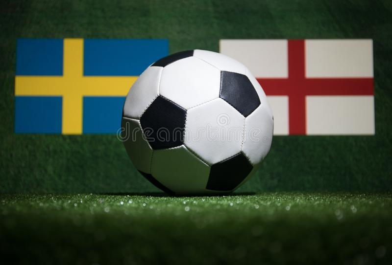 Soccer 2018. Creative concept. Soccer ball on green grass. Support your country or cheer concept. royalty free stock photos