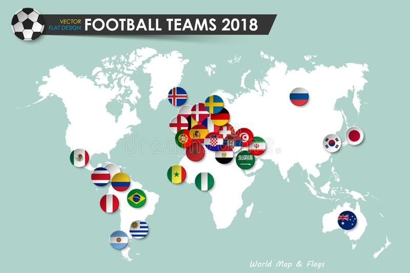 Soccer cup 2018 . Country flags of football teams on world map background . Vector for international world championship tournament vector illustration