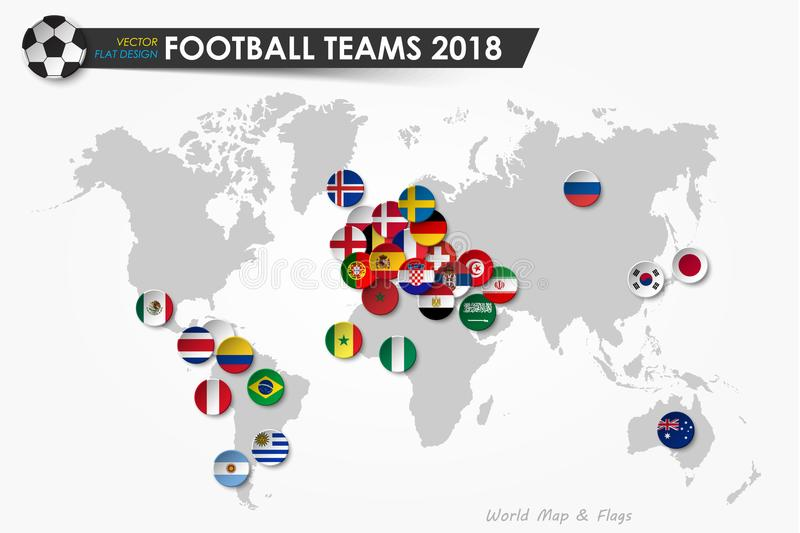Soccer cup 2018 . Country flags of football teams on world map background . Vector for international world championship tournament stock illustration