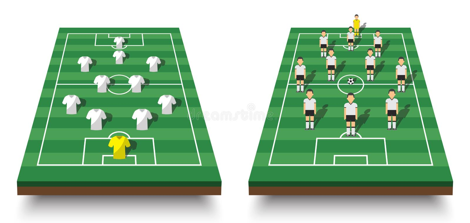 Soccer cup formation and tactic . Set of perspective view football field and players with jersey on white isolated background . Ve. Ctor for international world vector illustration
