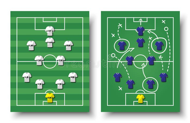 Soccer cup formation and tactic . Set of top view football field and players with jersey on white isolated background . Vector for. International world vector illustration