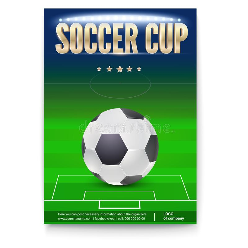 Soccer cup poster template with place for information and emblem. Of participants. Night football stadium in spotlight with big ball. 3D illustration, template stock illustration