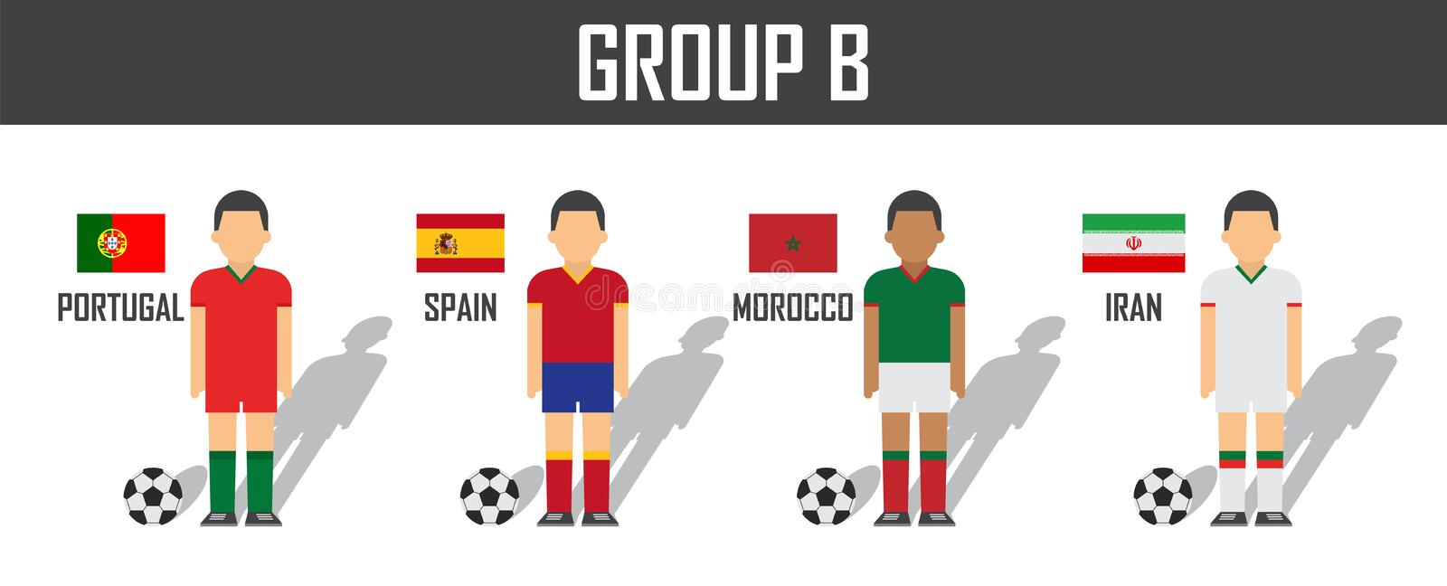 Soccer cup 2018 team group B . Football players with jersey uniform and national flags . Vector for international world championsh royalty free illustration