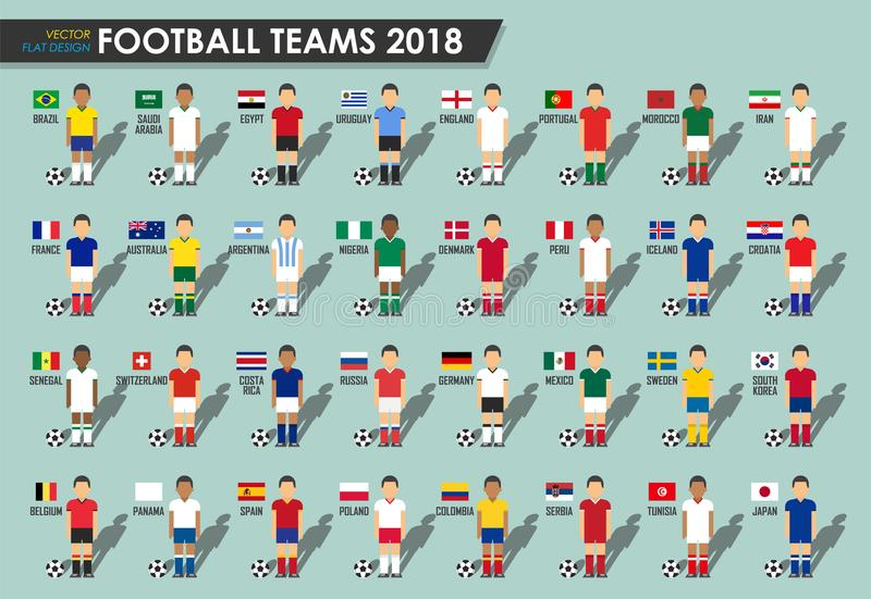 soccer cup teams 2018 set of football players with jersey uniform