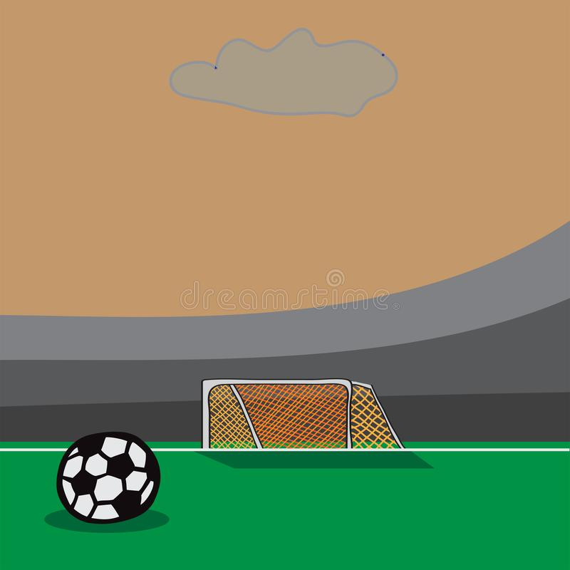 Soccer doodle goal with ball on field. vector illustration