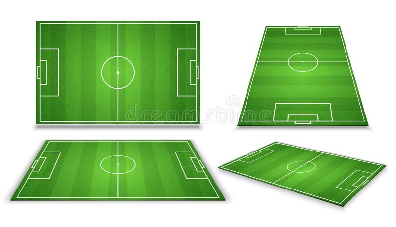 Soccer, european football field in different point of perspective view. Isolated vector illustration. Soccer green field for game stock illustration