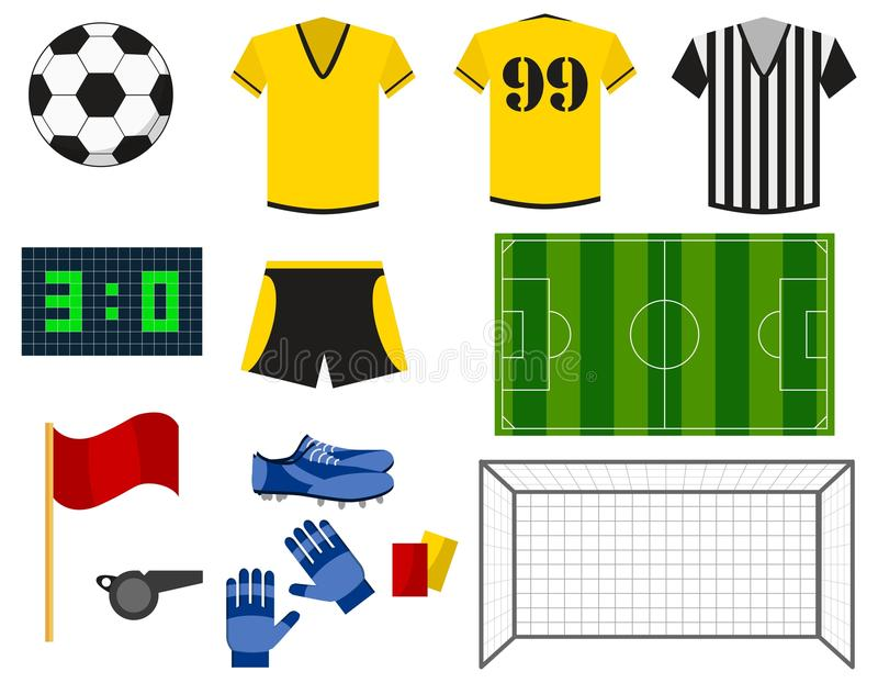 Soccer or european football flat icons set. Uniform, ball, football goal, soccer field, shoes and gloves isolated on royalty free illustration