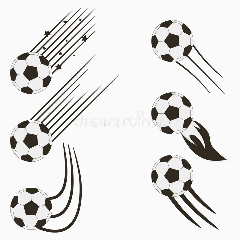 Soccer or European Football flying balls set with speed motion trails. Graphic design for sports logo. Vector. vector illustration