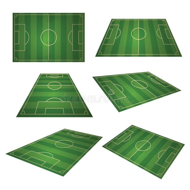 Soccer, european green football field in different point of perspective view. Soccer green field for sport game. Isolated vector retro set illustration stock illustration