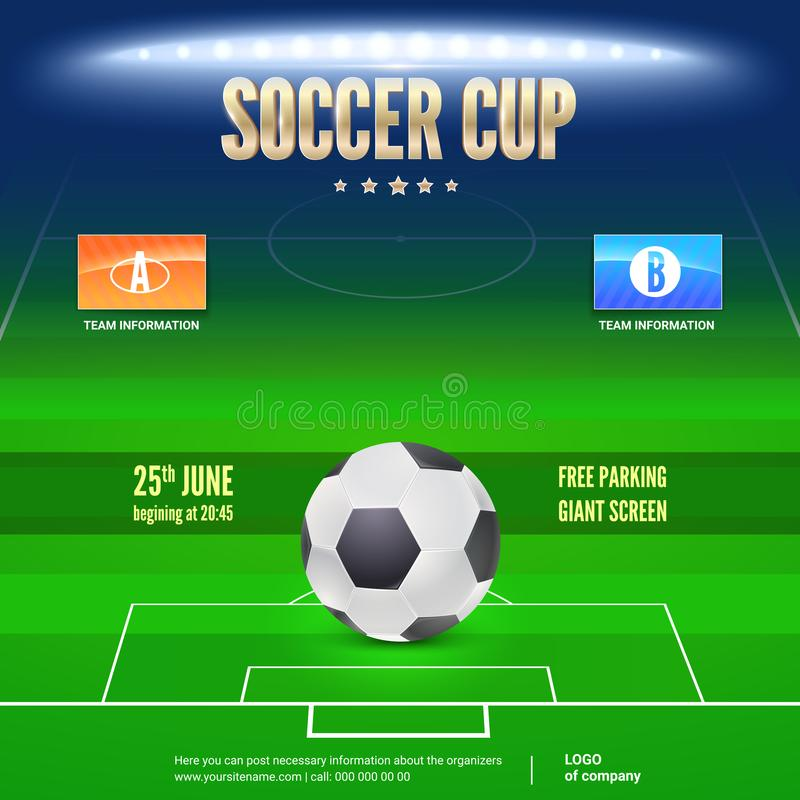 Soccer event flyer template. Place your text and emblem. Of participants. Night soccer stadium in the spotlight with big ball. 3D illustration, template for vector illustration