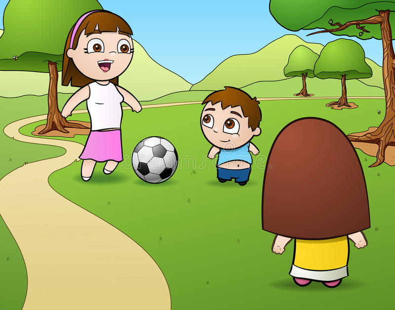 Soccer Family. This is a vector illustration of a family playing soccer (or, as some people would call it, football) in a park royalty free illustration