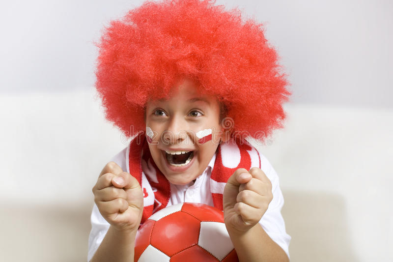 Soccer fan. Portrait with ball royalty free stock photo