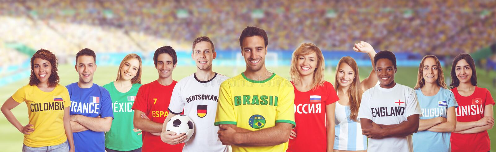 Soccer fan from Brazil with supporters from other countries. Soccer fan from Brazil with supporters from France, Germany, Russia and other countries stock images