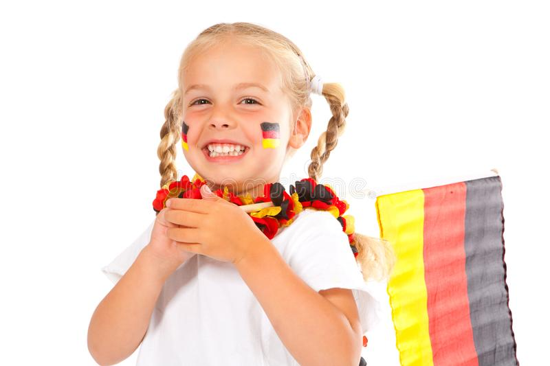 Soccer fan with a flag stock images