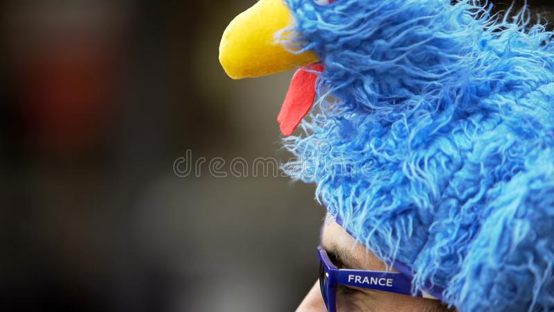 Soccer fan in funny headgear waiting for match to support national team, closeup. Stock photo stock photography