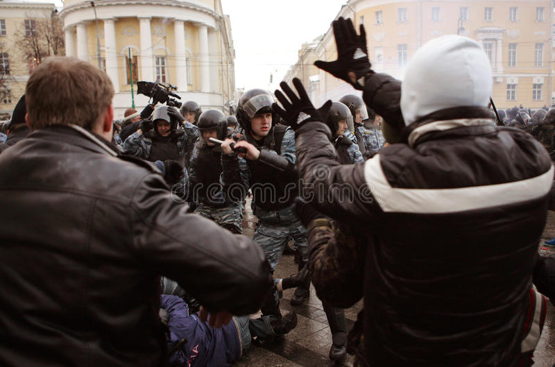 Soccer fans against authorities royalty free stock photography