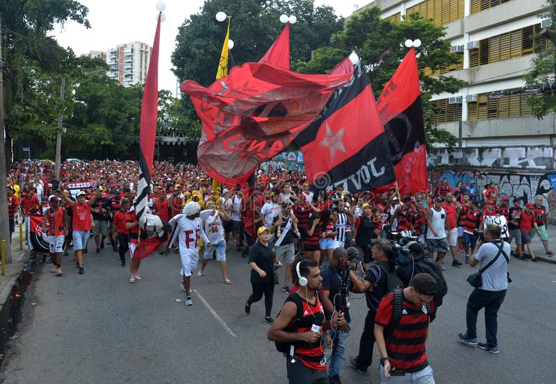 Soccer Fans Flamengo. Rio de Janeiro - Brazil , Flamengo Football Club supporters making demonstrations in solidarity with the players killed in the fire at the royalty free stock photos