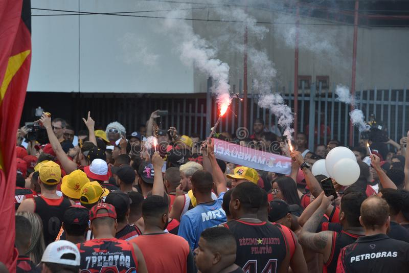 Soccer Fans Flamengo. Rio de Janeiro - Brazil , Flamengo Football Club supporters making demonstrations in solidarity with the players killed in the fire at the stock image