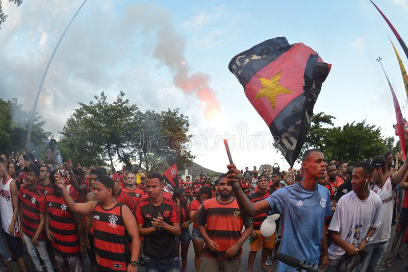 Soccer Fans Flamengo. Rio de Janeiro - Brazil , Flamengo Football Club supporters making demonstrations in solidarity with the players killed in the fire at the stock photos