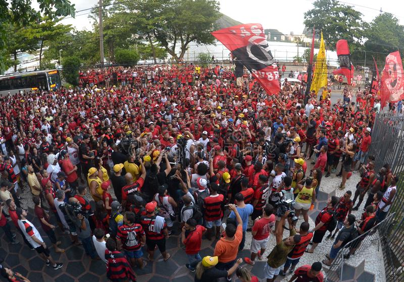 Soccer Fans Flamengo. Rio de Janeiro - Brazil , Flamengo Football Club supporters making demonstrations in solidarity with the players killed in the fire at the royalty free stock photo