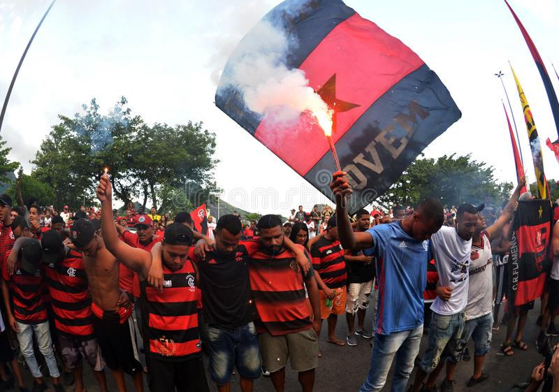 Soccer Fans Flamengo. Rio de Janeiro - Brazil , Flamengo Football Club supporters making demonstrations in solidarity with the players killed in the fire at the stock photography