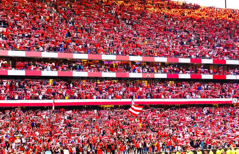 Soccer Fans, Red Crowd, Benfica Stadium, Football Champions. Benfica Stadium: the home players and red crowd celebrate their 34th nacional league title. May 23th stock photo