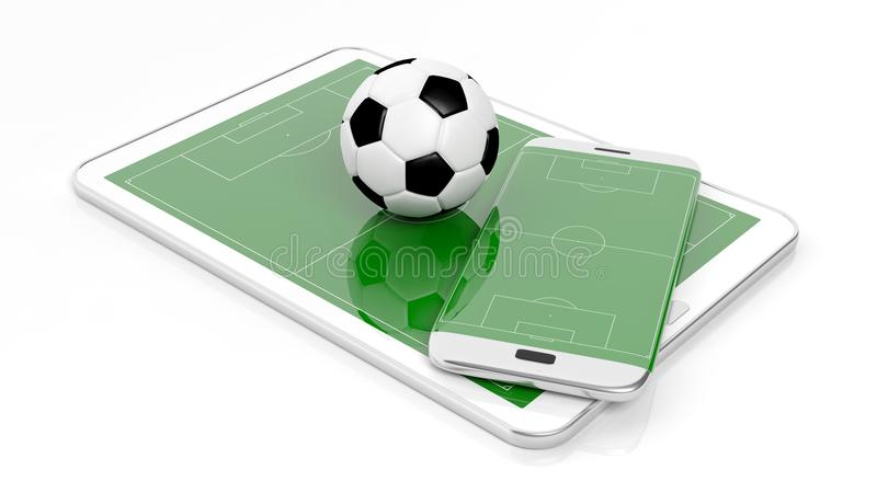 Soccer field with ball on smartphone edge and tablet display. On white royalty free illustration