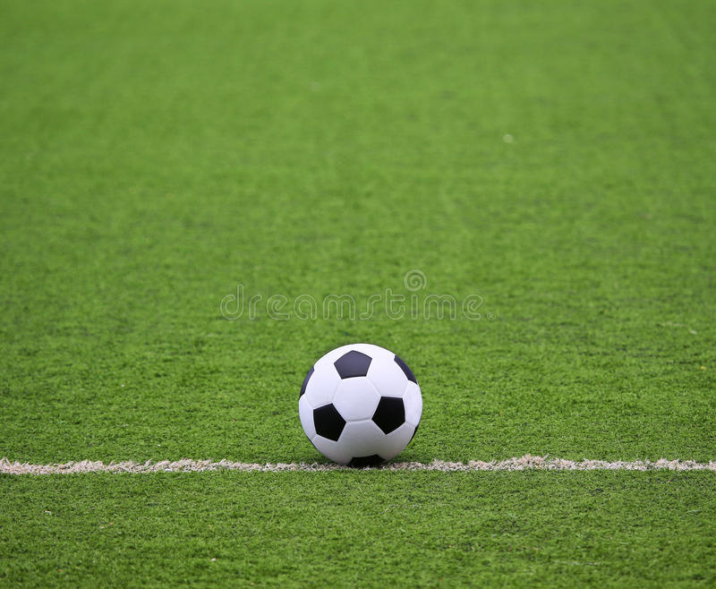 Soccer field with ball royalty free stock photo